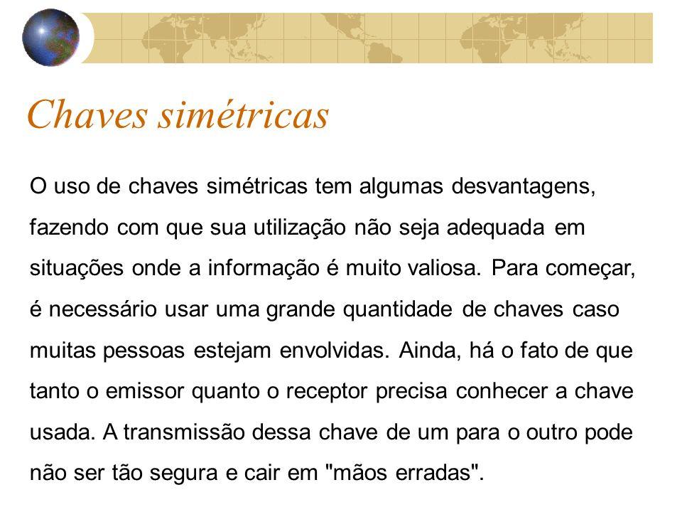 Chaves simétricas O uso de chaves simétricas tem algumas desvantagens, fazendo com que sua utilização não seja adequada em situações onde a informação é muito valiosa.