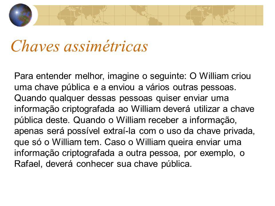 Chaves assimétricas Para entender melhor, imagine o seguinte: O William criou uma chave pública e a enviou a vários outras pessoas.