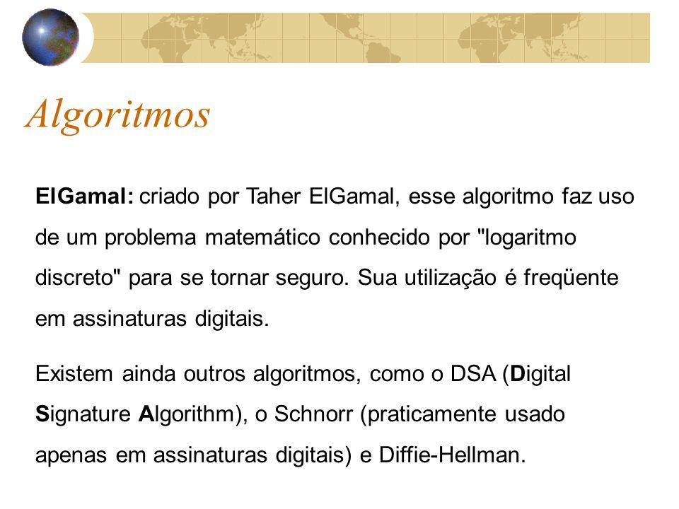 Algoritmos ElGamal: criado por Taher ElGamal, esse algoritmo faz uso de um problema matemático conhecido por logaritmo discreto para se tornar seguro.