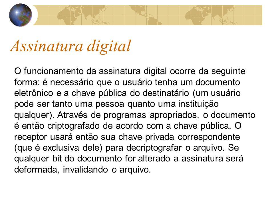 Assinatura digital O funcionamento da assinatura digital ocorre da seguinte forma: é necessário que o usuário tenha um documento eletrônico e a chave pública do destinatário (um usuário pode ser tanto uma pessoa quanto uma instituição qualquer).
