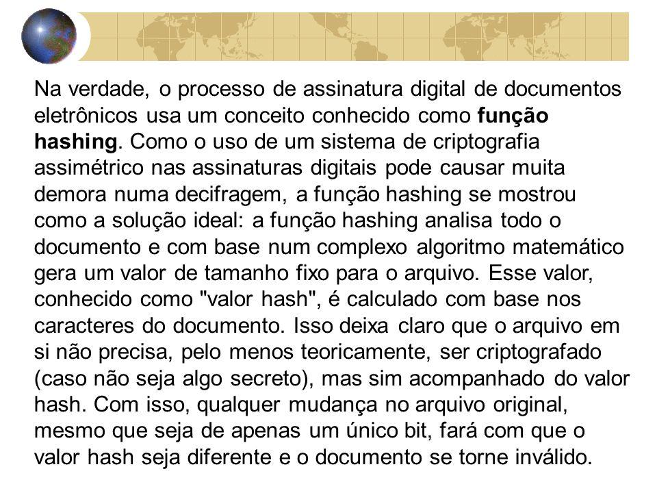 Na verdade, o processo de assinatura digital de documentos eletrônicos usa um conceito conhecido como função hashing.