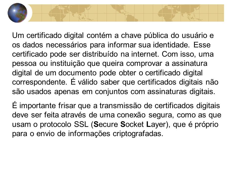 Um certificado digital contém a chave pública do usuário e os dados necessários para informar sua identidade.