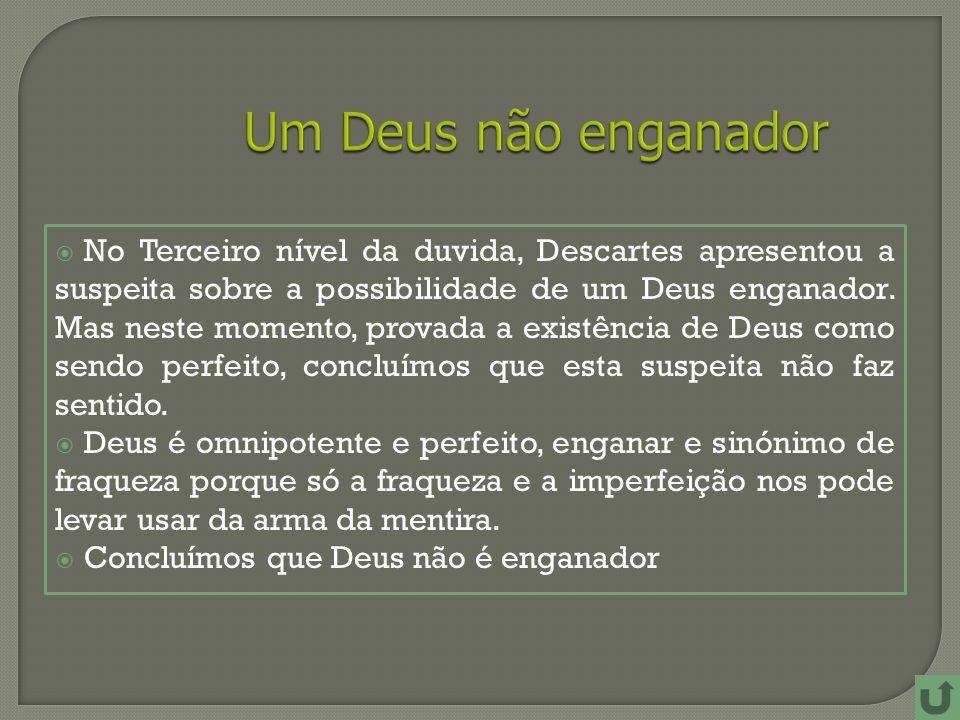 No Terceiro nível da duvida, Descartes apresentou a suspeita sobre a possibilidade de um Deus enganador.
