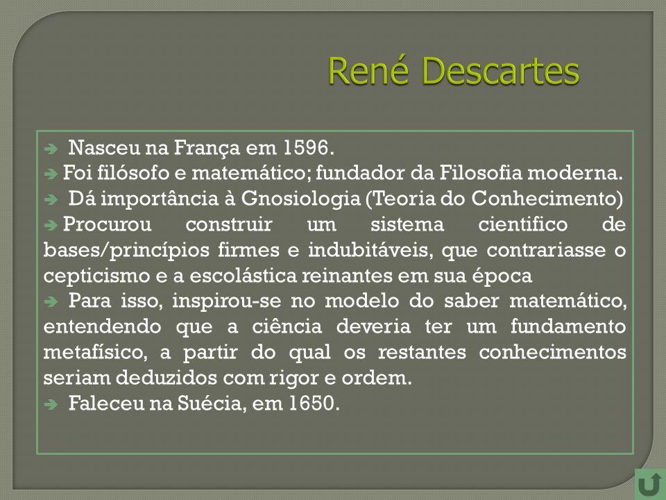 Nasceu na França em 1596.Foi filósofo e matemático; fundador da Filosofia moderna.