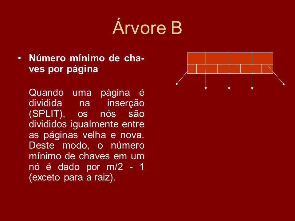 Árvore B Número mínimo de cha- ves por página Quando uma página é dividida na inserção (SPLIT), os nós são divididos igualmente entre as páginas velha e nova.