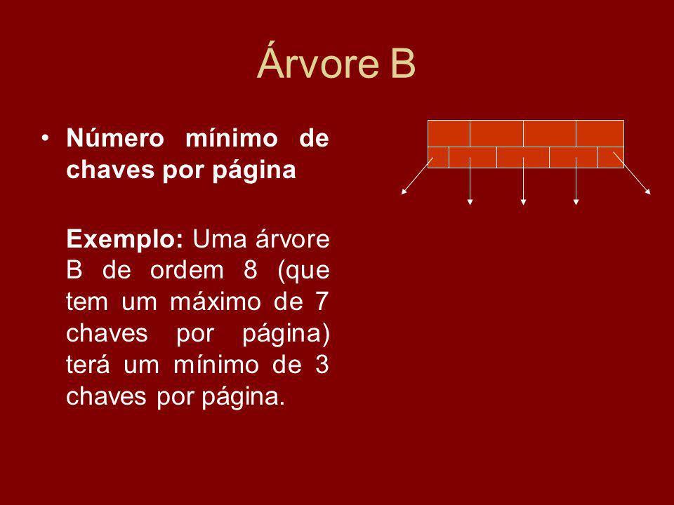 Árvore B Número mínimo de chaves por página Exemplo: Uma árvore B de ordem 8 (que tem um máximo de 7 chaves por página) terá um mínimo de 3 chaves por página.