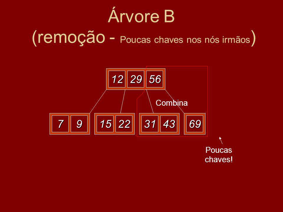 Árvore B (remoção - Poucas chaves nos nós irmãos ) 122956 79152269723143 Eliminar o 72 Poucas chaves.