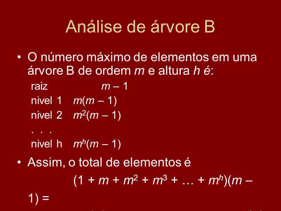 Análise de árvore B O número máximo de elementos em uma árvore B de ordem m e altura h é: raizm – 1 nivel 1m(m – 1) nivel 2m 2 (m – 1)...