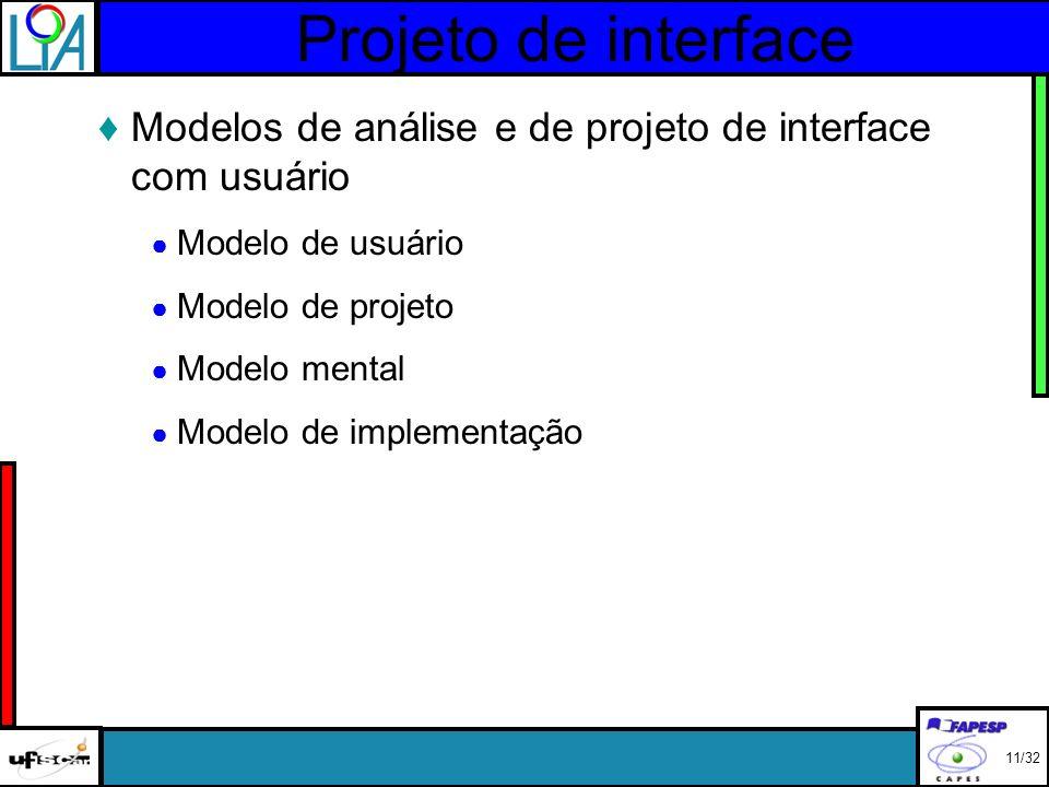 Projeto de interface Modelos de análise e de projeto de interface com usuário Modelo de usuário Modelo de projeto Modelo mental Modelo de implementação 11/32