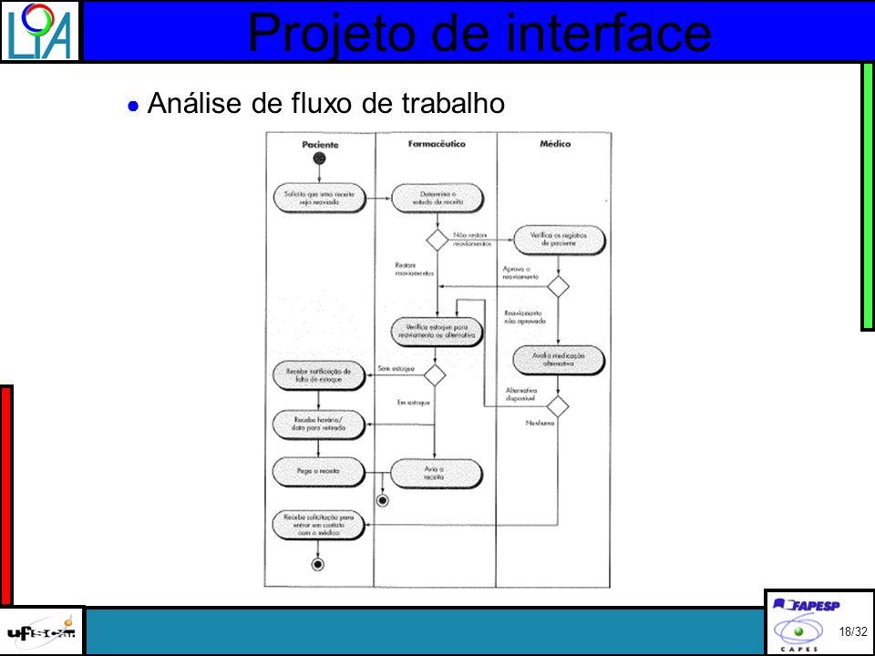 Projeto de interface Análise de fluxo de trabalho 18/32