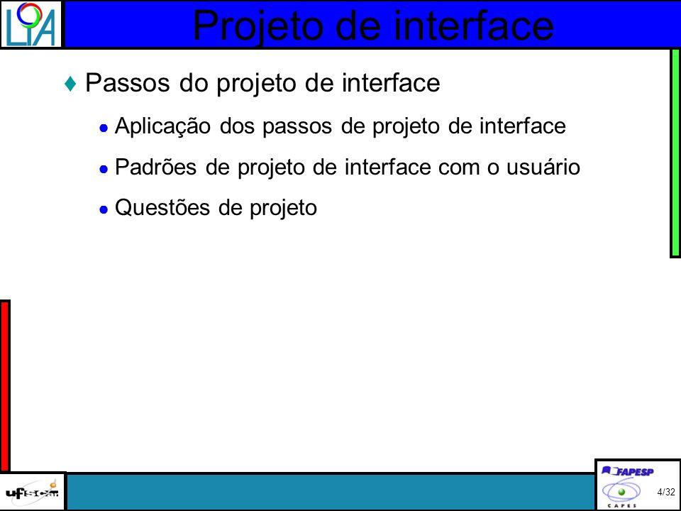 Projeto de interface Passos do projeto de interface Aplicação dos passos de projeto de interface Padrões de projeto de interface com o usuário Questões de projeto 4/32
