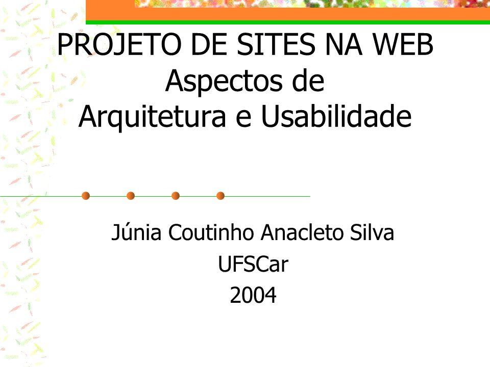 PROJETO DE SITES NA WEB Aspectos de Arquitetura e Usabilidade Júnia Coutinho Anacleto Silva UFSCar 2004