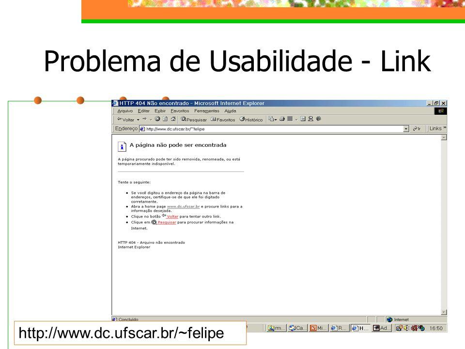 Problema de Usabilidade - Link http://www.dc.ufscar.br/~felipe