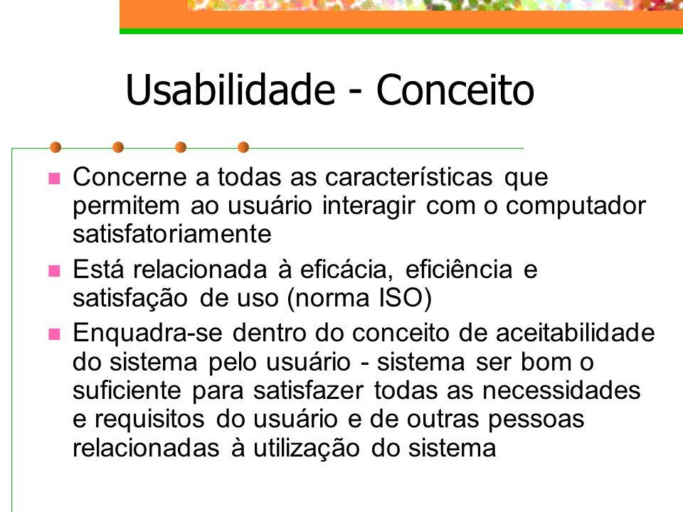 Usabilidade - Conceito Concerne a todas as características que permitem ao usuário interagir com o computador satisfatoriamente Está relacionada à efi