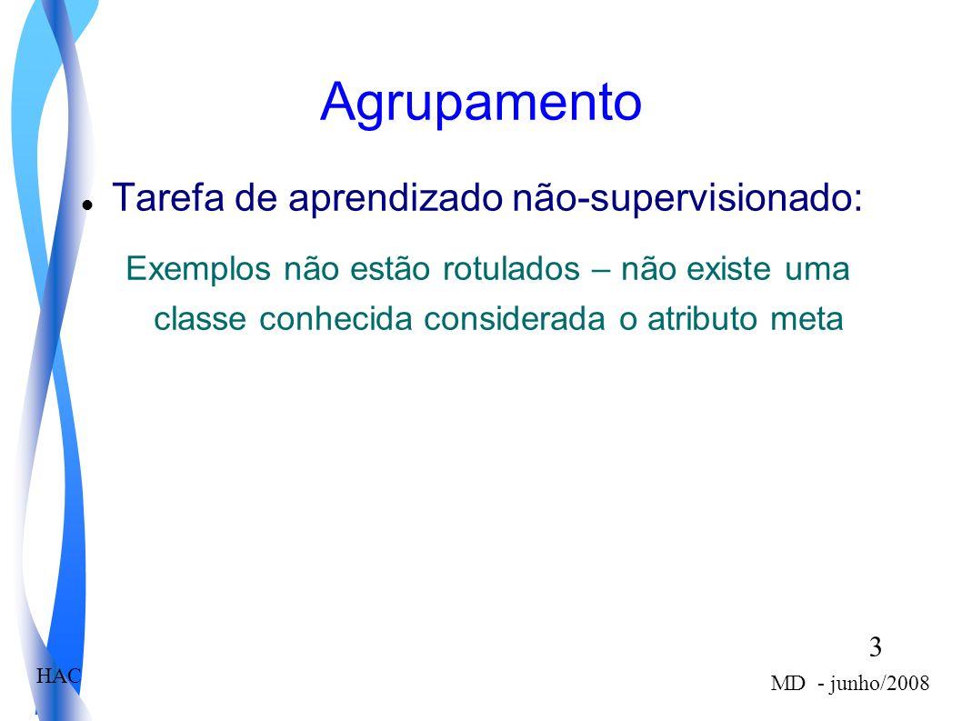 3 MD - junho/2008 HAC Agrupamento Tarefa de aprendizado não-supervisionado: Exemplos não estão rotulados – não existe uma classe conhecida considerada