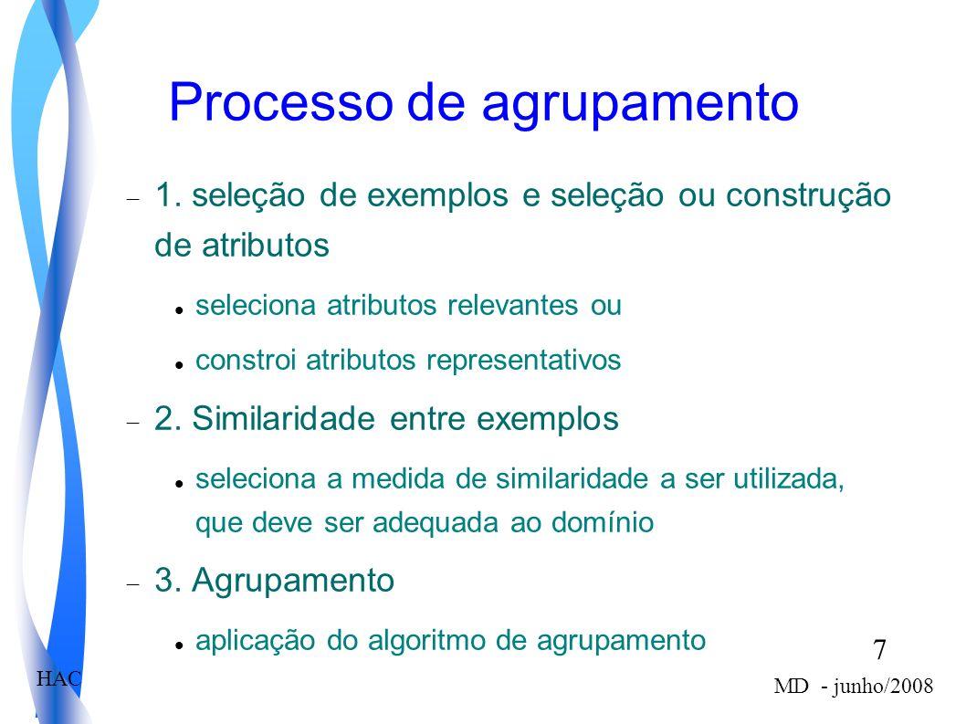 7 MD - junho/2008 HAC Processo de agrupamento 1. seleção de exemplos e seleção ou construção de atributos seleciona atributos relevantes ou constroi a