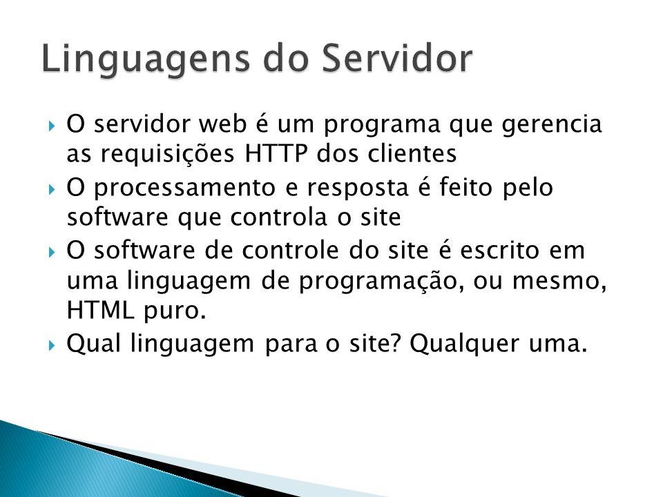 O servidor web é um programa que gerencia as requisições HTTP dos clientes O processamento e resposta é feito pelo software que controla o site O soft
