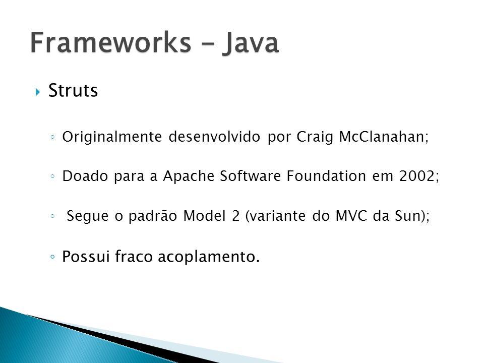 Struts Originalmente desenvolvido por Craig McClanahan; Doado para a Apache Software Foundation em 2002; Segue o padrão Model 2 (variante do MVC da Su