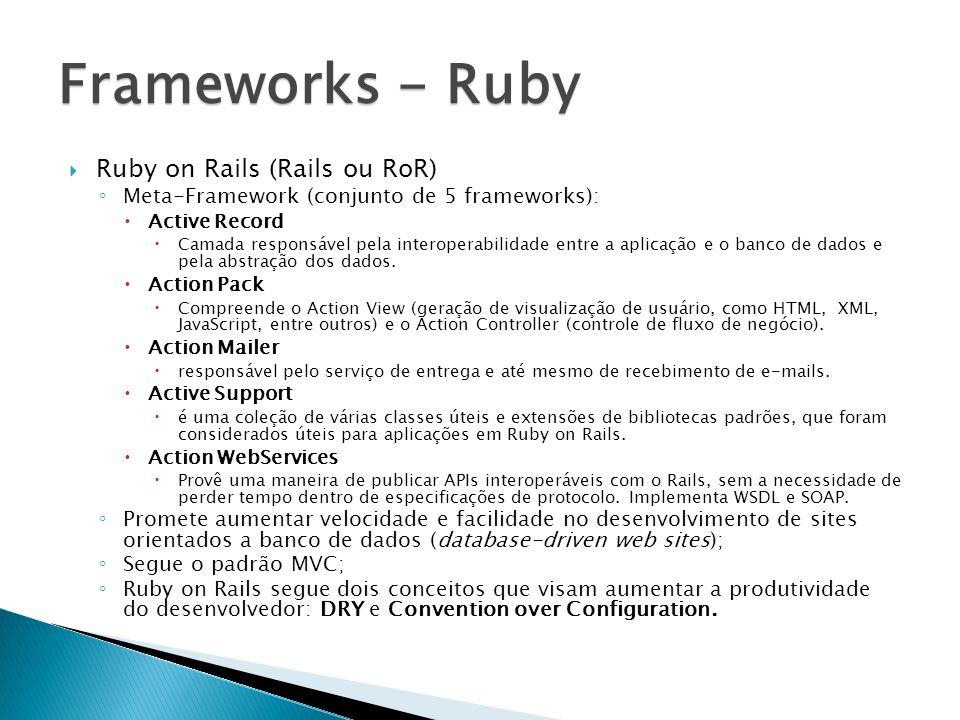 Ruby on Rails (Rails ou RoR) Meta-Framework (conjunto de 5 frameworks): Active Record Camada responsável pela interoperabilidade entre a aplicação e o