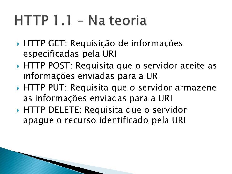 HTTP GET: Requisição de informações especificadas pela URI HTTP POST: Requisita que o servidor aceite as informações enviadas para a URI HTTP PUT: Req