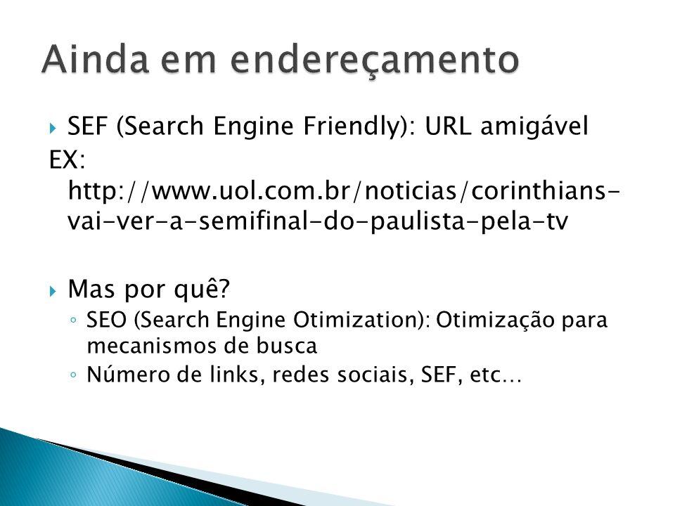 SEF (Search Engine Friendly): URL amigável EX: http://www.uol.com.br/noticias/corinthians- vai-ver-a-semifinal-do-paulista-pela-tv Mas por quê? SEO (S