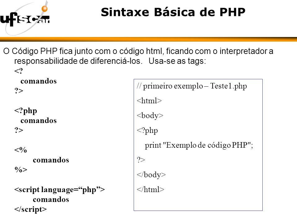 Sintaxe Básica de PHP O Código PHP fica junto com o código html, ficando com o interpretador a responsabilidade de diferenciá-los.