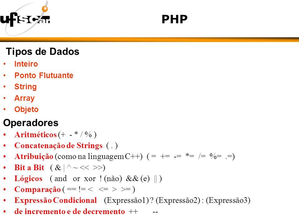 PHP Tipos de Dados Inteiro Ponto Flutuante String Array Objeto Operadores Aritméticos (+ - * / % ) Concatenação de Strings (.