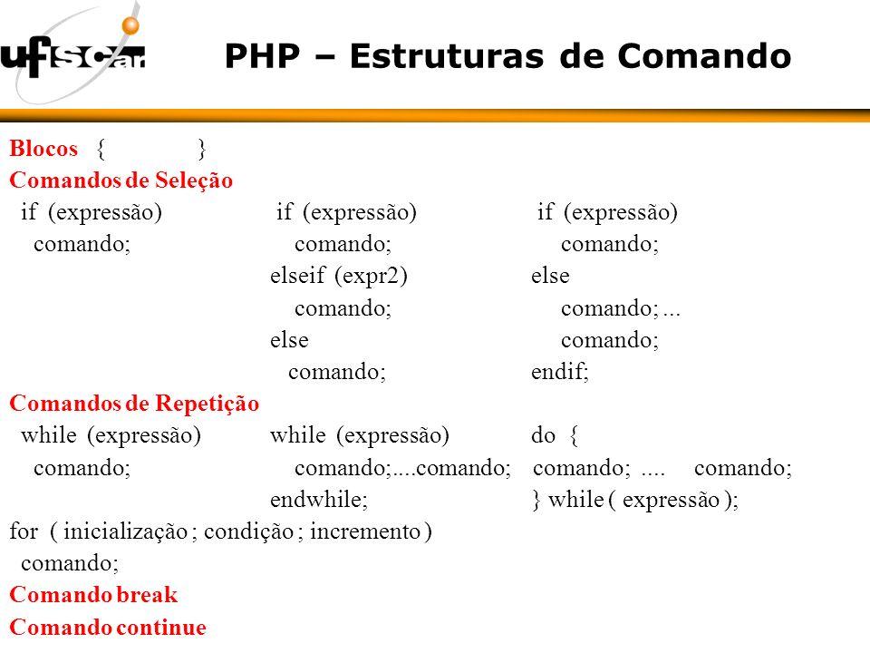 PHP – Estruturas de Comando Blocos { } Comandos de Seleção if (expressão) if (expressão) if (expressão) comando; comando; comando; elseif (expr2) else comando; comando;...