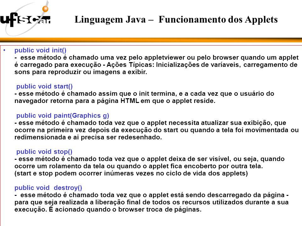 public void init() - esse método é chamado uma vez pelo appletviewer ou pelo browser quando um applet é carregado para execução - Ações Típicas: Inicializações de varíaveis, carregamento de sons para reproduzir ou imagens a exibir.