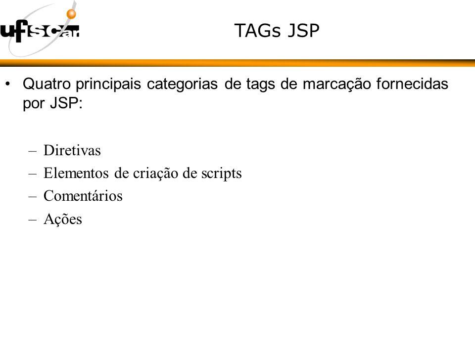 TAGs JSP Quatro principais categorias de tags de marcação fornecidas por JSP: –Diretivas –Elementos de criação de scripts –Comentários –Ações