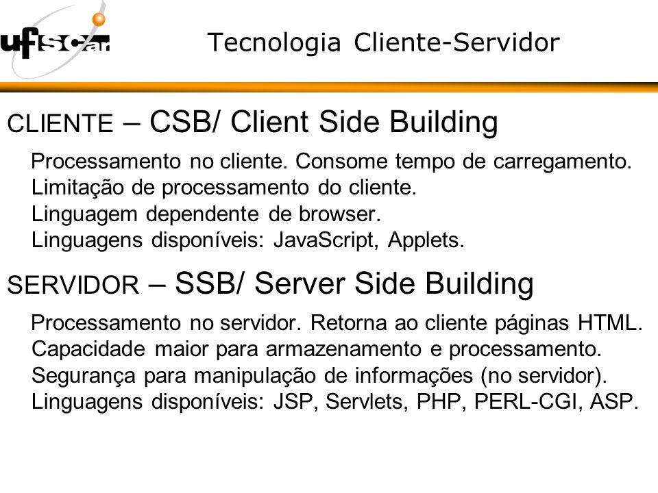Tecnologia Cliente-Servidor CLIENTE – CSB/ Client Side Building Processamento no cliente.