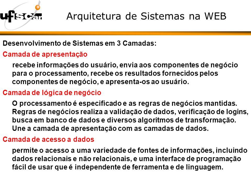 Arquitetura de Sistemas na WEB Desenvolvimento de Sistemas em 3 Camadas: Camada de apresentação recebe informações do usuário, envia aos componentes de negócio para o processamento, recebe os resultados fornecidos pelos componentes de negócio, e apresenta-os ao usuário.