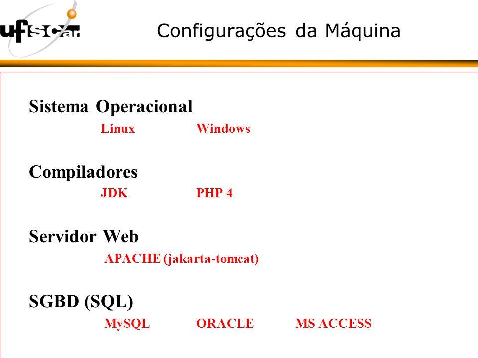 Configurações da Máquina Sistema Operacional LinuxWindows Compiladores JDK PHP 4 Servidor Web APACHE (jakarta-tomcat) SGBD (SQL) MySQL ORACLE MS ACCESS