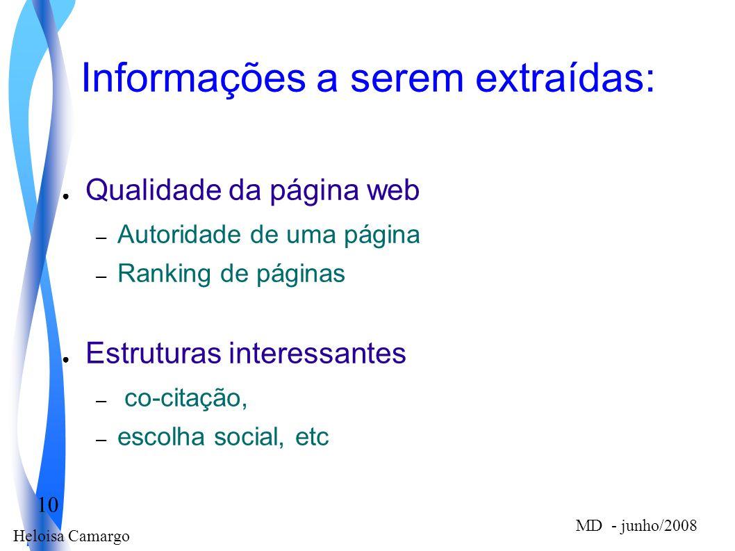 Heloisa Camargo 10 MD - junho/2008 Informações a serem extraídas: Qualidade da página web – Autoridade de uma página – Ranking de páginas Estruturas i
