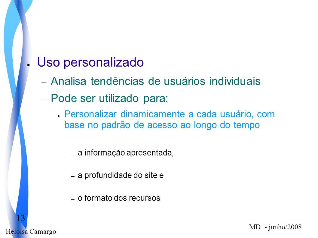 Heloisa Camargo 13 MD - junho/2008 Uso personalizado – Analisa tendências de usuários individuais – Pode ser utilizado para: Personalizar dinamicament