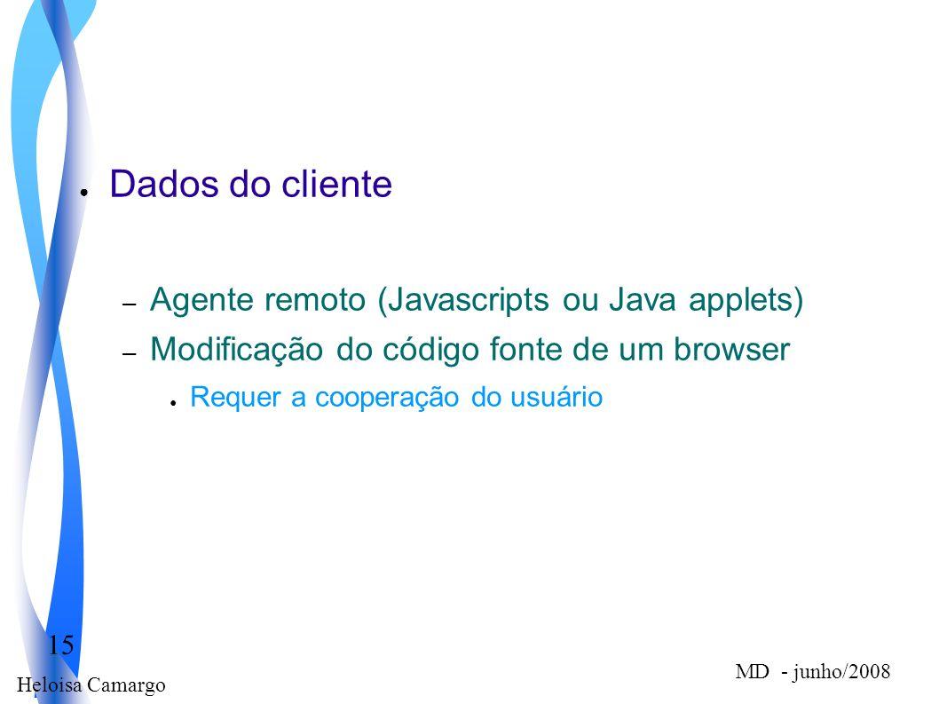 Heloisa Camargo 15 MD - junho/2008 Dados do cliente – Agente remoto (Javascripts ou Java applets) – Modificação do código fonte de um browser Requer a