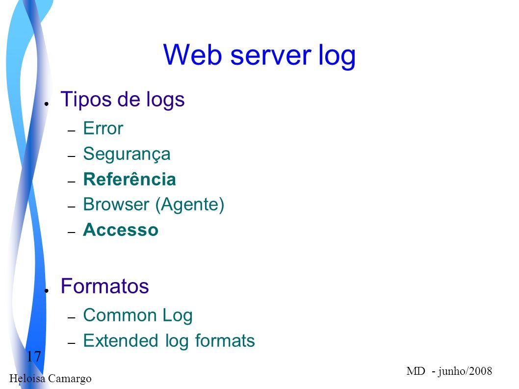 Heloisa Camargo 17 MD - junho/2008 Web server log Tipos de logs – Error – Segurança – Referência – Browser (Agente) – Accesso Formatos – Common Log –