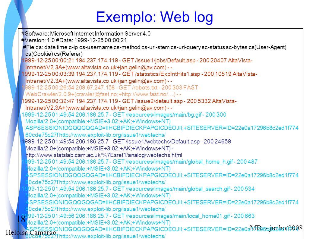 Heloisa Camargo 18 MD - junho/2008 Exemplo: Web log #Software: Microsoft Internet Information Server 4.0 #Version: 1.0 #Date: 1999-12-25 00:00:21 #Fie