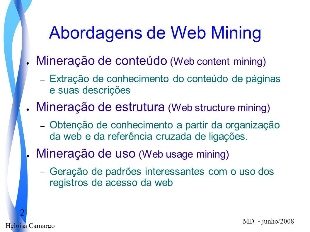 Heloisa Camargo 2 MD - junho/2008 Abordagens de Web Mining Mineração de conteúdo (Web content mining) – Extração de conhecimento do conteúdo de página