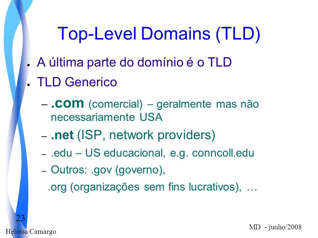Heloisa Camargo 23 MD - junho/2008 Top-Level Domains (TLD) A última parte do domínio é o TLD TLD Generico –.com (comercial) – geralmente mas não neces