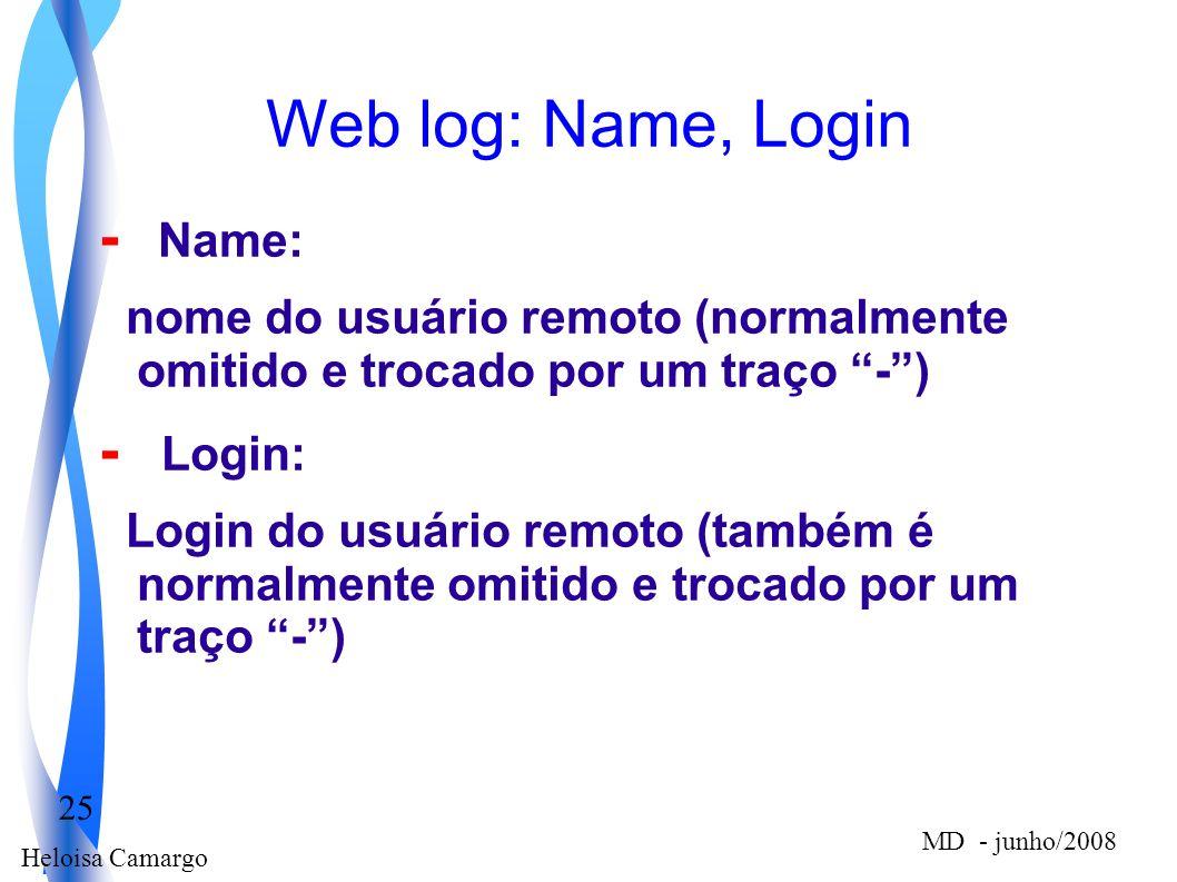 Heloisa Camargo 25 MD - junho/2008 Web log: Name, Login - Name: nome do usuário remoto (normalmente omitido e trocado por um traço -) - Login: Login d