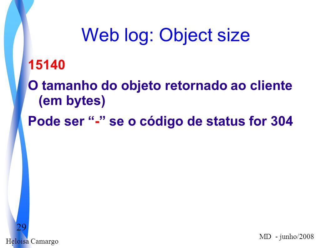 Heloisa Camargo 29 MD - junho/2008 Web log: Object size 15140 O tamanho do objeto retornado ao cliente (em bytes) Pode ser - se o código de status for