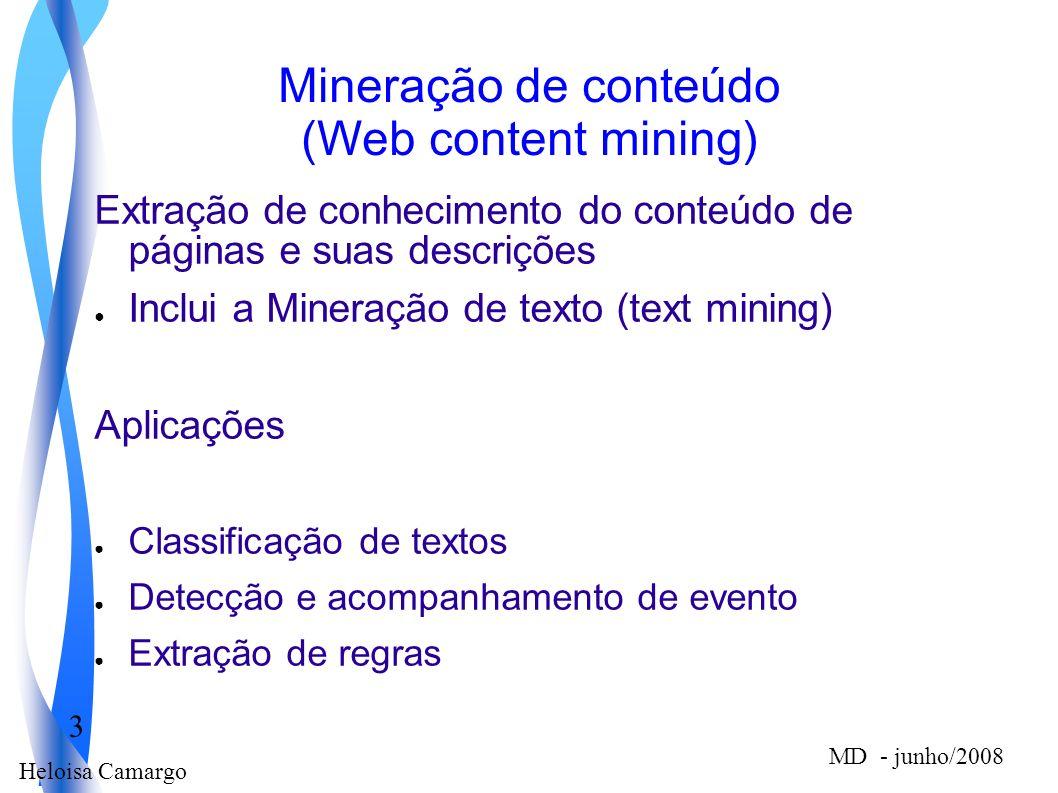 Heloisa Camargo 3 MD - junho/2008 Mineração de conteúdo (Web content mining) Extração de conhecimento do conteúdo de páginas e suas descrições Inclui