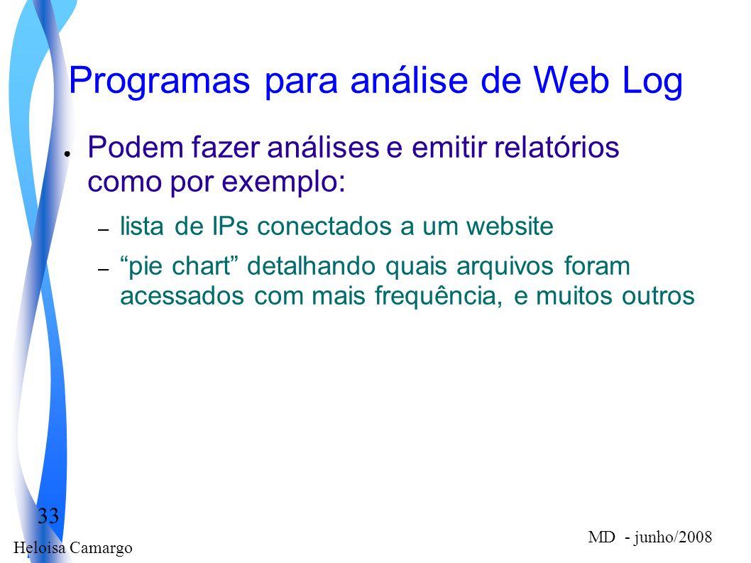 Heloisa Camargo 33 MD - junho/2008 Programas para análise de Web Log Podem fazer análises e emitir relatórios como por exemplo: – lista de IPs conecta