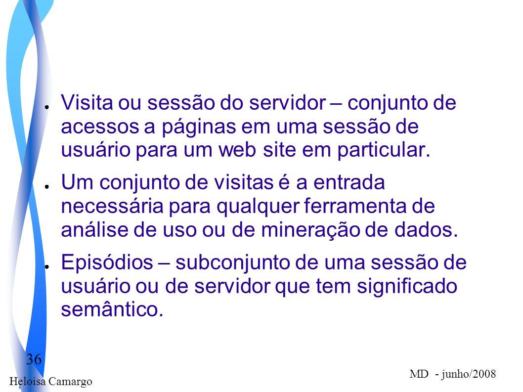 Heloisa Camargo 36 MD - junho/2008 Visita ou sessão do servidor – conjunto de acessos a páginas em uma sessão de usuário para um web site em particula