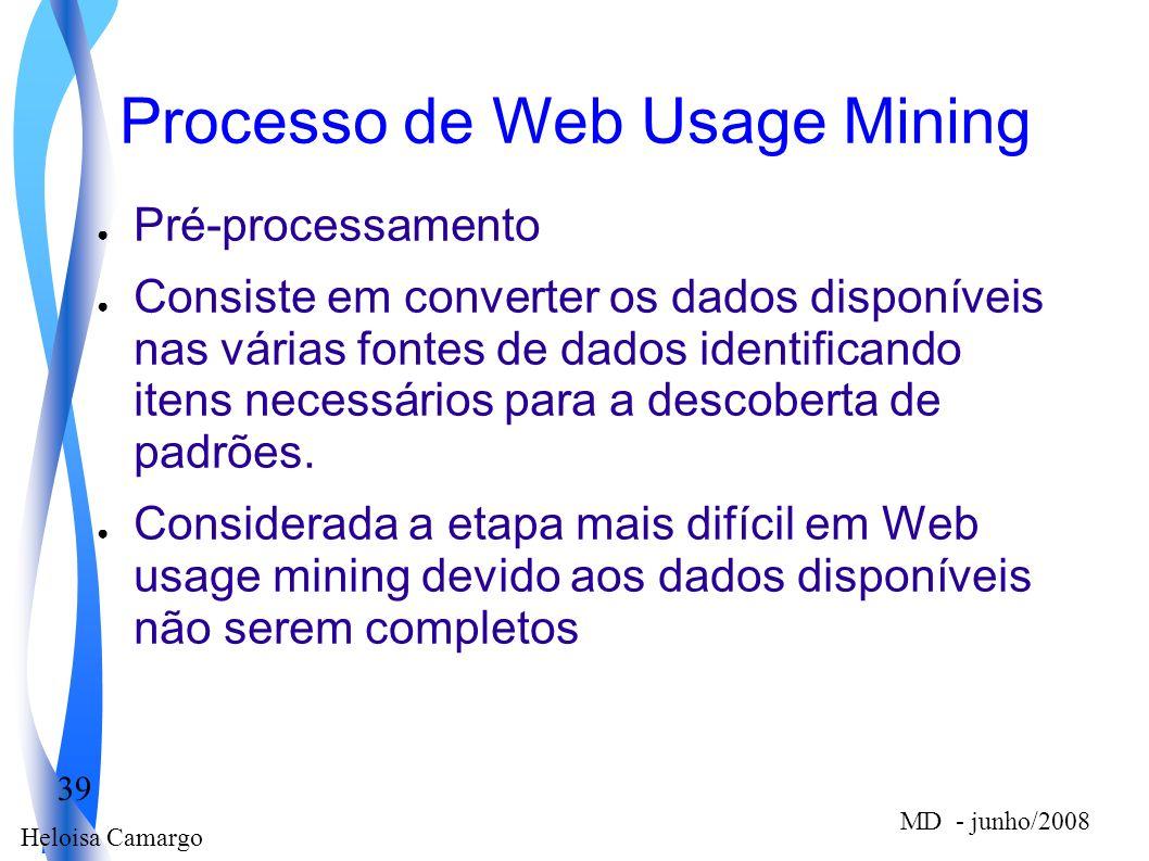 Heloisa Camargo 39 MD - junho/2008 Processo de Web Usage Mining Pré-processamento Consiste em converter os dados disponíveis nas várias fontes de dado