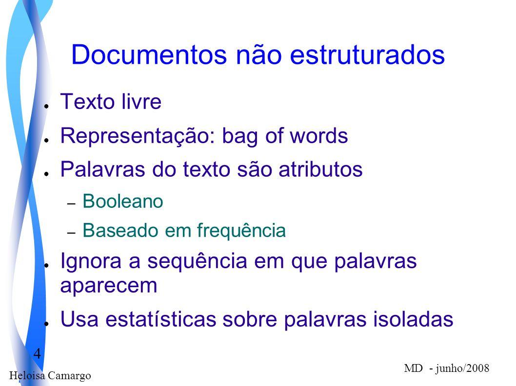 Heloisa Camargo 4 MD - junho/2008 Documentos não estruturados Texto livre Representação: bag of words Palavras do texto são atributos – Booleano – Bas