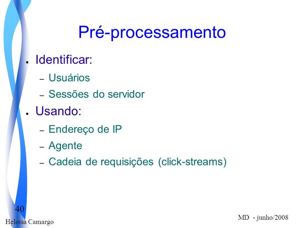 Heloisa Camargo 40 MD - junho/2008 Pré-processamento Identificar: – Usuários – Sessões do servidor Usando: – Endereço de IP – Agente – Cadeia de requi
