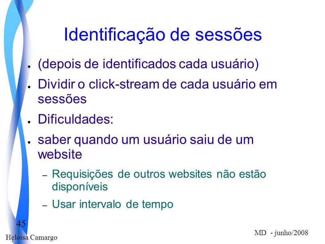Heloisa Camargo 45 MD - junho/2008 Identificação de sessões (depois de identificados cada usuário) Dividir o click-stream de cada usuário em sessões D