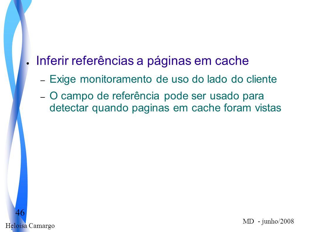 Heloisa Camargo 46 MD - junho/2008 Inferir referências a páginas em cache – Exige monitoramento de uso do lado do cliente – O campo de referência pode